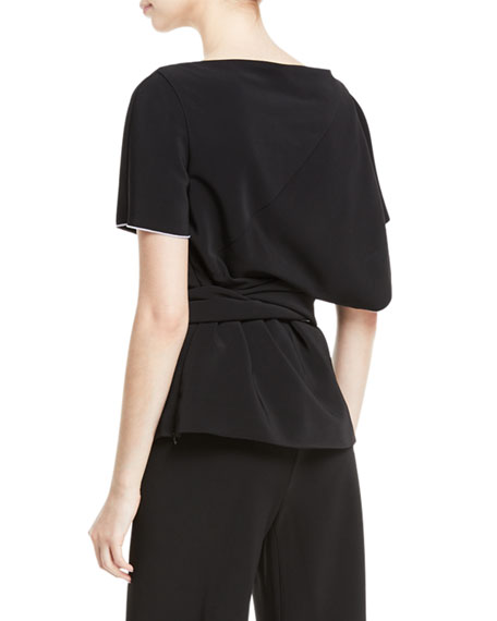Short-Sleeve Cutaway Panel Stretch-Cady Top