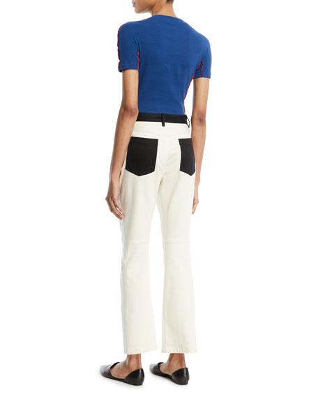 Crewneck Short-Sleeve Reverse Seam Cotton Jersey Tee