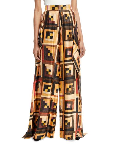 Patchwork-Quilt Wide-Leg Silk Drape Panel Trousers