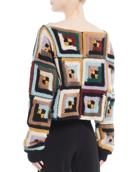 Bateau-Neck Long-Sleeve Square-Quilt Pullover Sweater