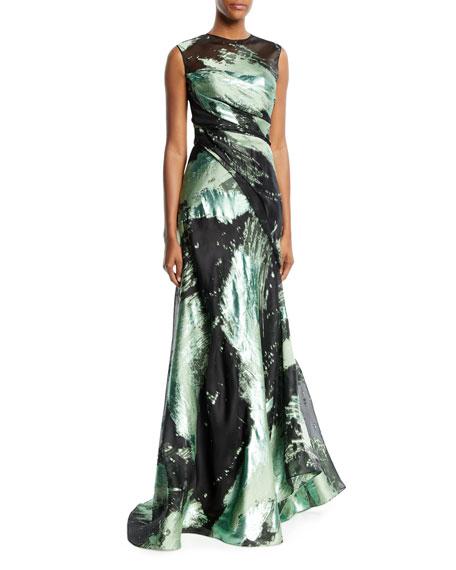 Jewel-Neck Draped Metallic Jacquard Evening Gown w/ Corset