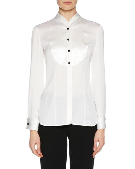 Giorgio Armani Long-Sleeve Button-Placket Silk Satin Tuxedo