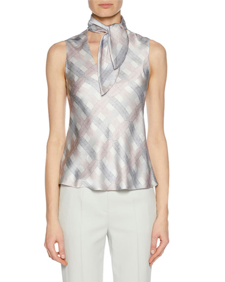 Tie-Neck Graphic-Print Silk Shell