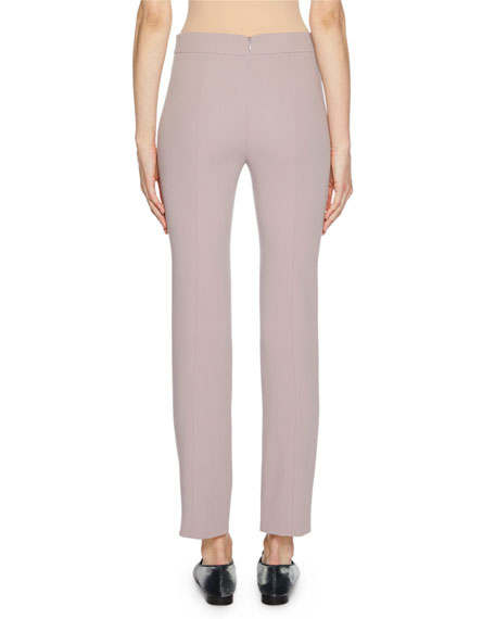 Straight-Leg Wool Crepe Crop Pants with Back Zip