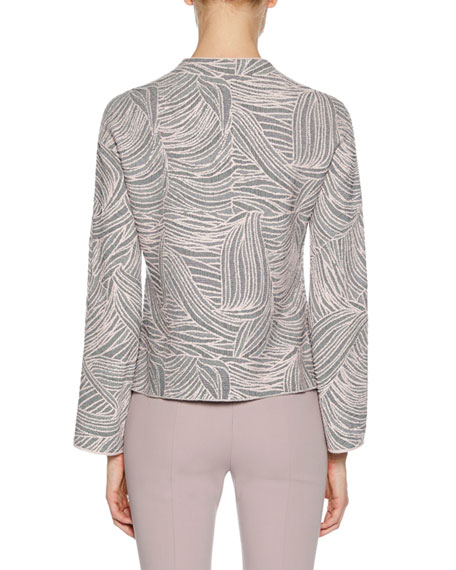 Crewneck Long-Sleeve Floral-Jacquard Top