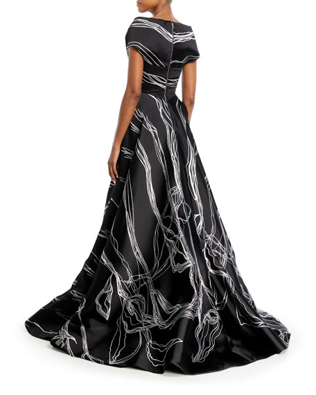 Bateau-Neck Scribble-Print High-Low Tulip Evening Gown