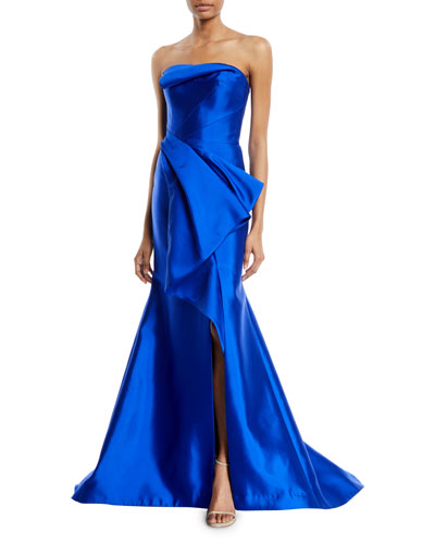 Strapless Draped Silk-Wool Evening Gown w/ Draped Front Panel