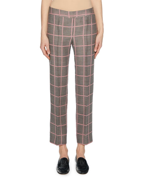 Straight-Leg Plaid Crop Pants