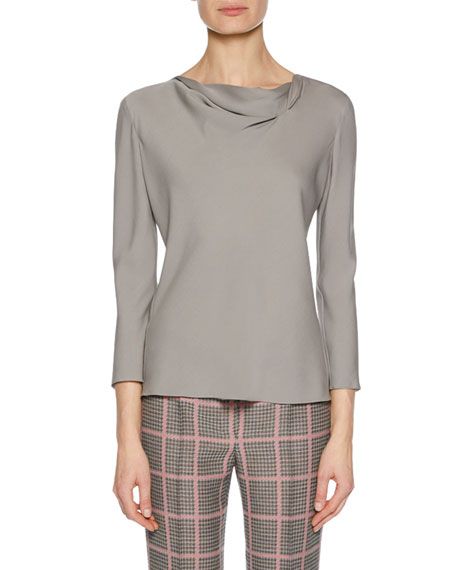 Draped-Neckline Long-Sleeve Silk Blouse, Charcoal
