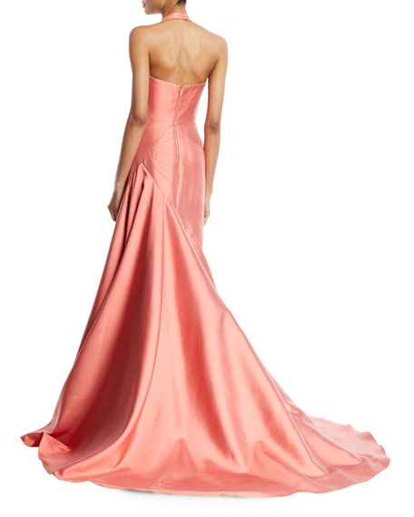 Sleeveless Fitted Halter-Neck Evening Ball Gown w/ Sunburst Seaming