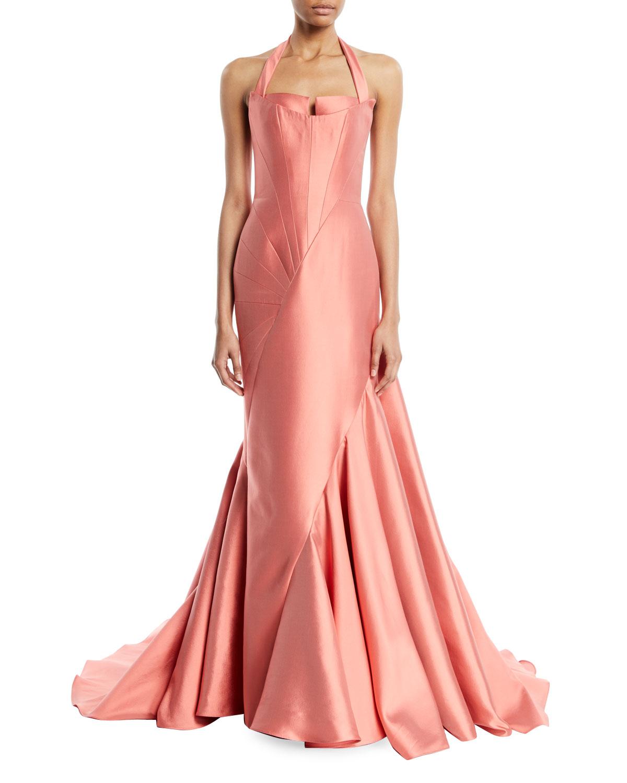 Blood Pool Halterneck Wedding Gown: Rubin Singer Sleeveless Fitted Halter-Neck Evening Ball