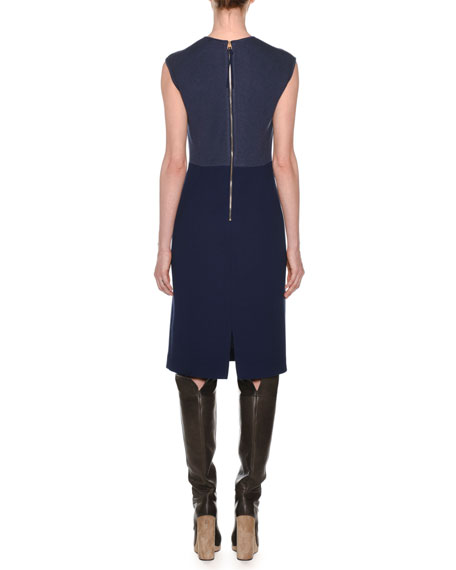 Crewneck Sleeveless Fitted Wool Crepe Dress w/ Knit Details