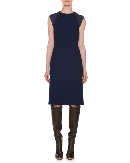 Agnona Crewneck Sleeveless Fitted Wool Crepe Dress w/