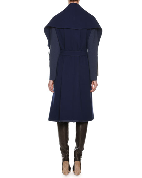 Shawl-Collar Open-Front Belted Wool Coat w/ Knit Sleeves