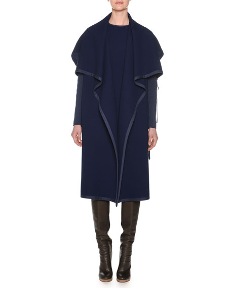 Agnona Shawl-Collar Open-Front Belted Wool Coat w/ Knit