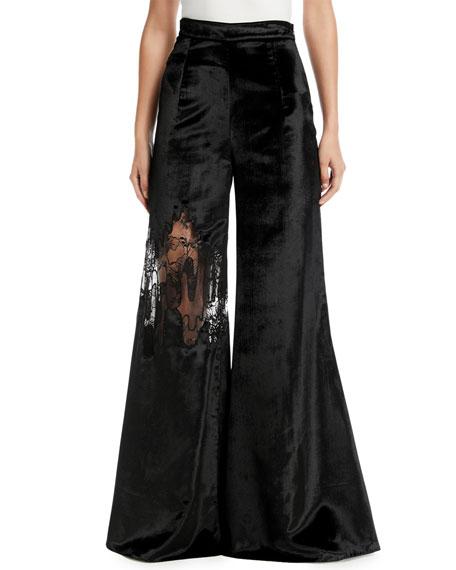 High-Waist Wide-Leg Velvet Pants w/ Lace Inset