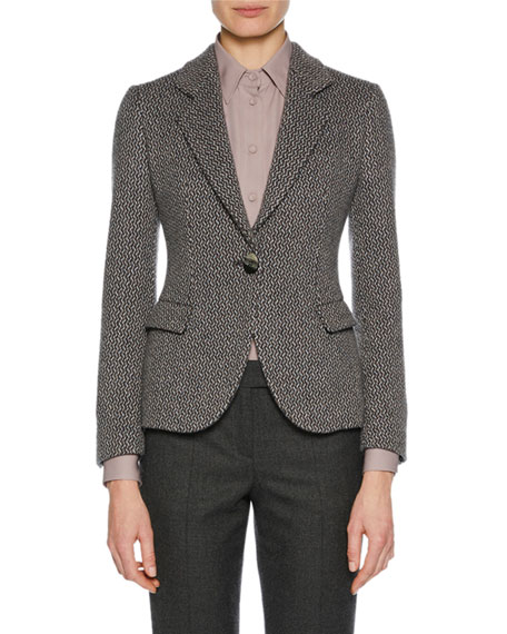 One-Button Woven Cashmere Novelty Jacket