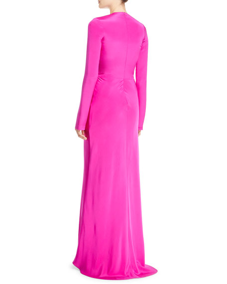 Bell-Sleeve Circular-Opening Silk Crepe Evening Gown
