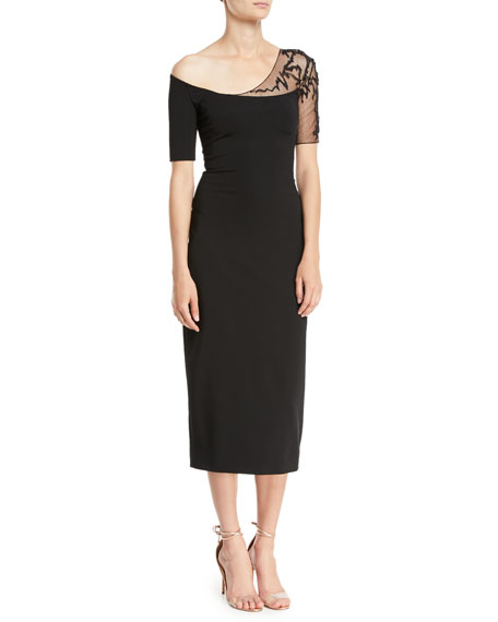 Cushnie One-Shoulder Short-Sleeve Pencil Cocktail Dress w/ Lace