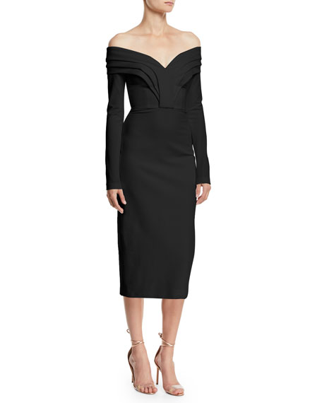 CUSHNIE Off-the-Shoulder Long-Sleeve Pencil Cocktail Dress w/