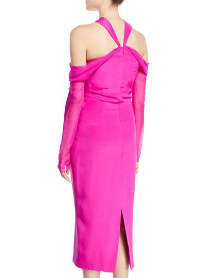 Halter-Neck Pencil Tea-Length Cocktail Dress w/ Chiffon Sleeves