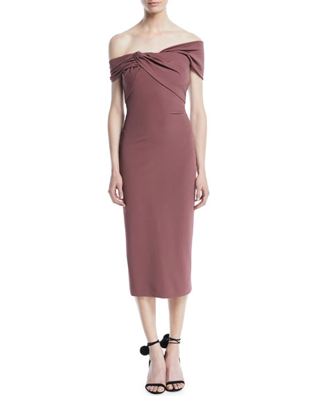 CUSHNIE Off-the-Shoulder Pencil Dress with Twist Detail at