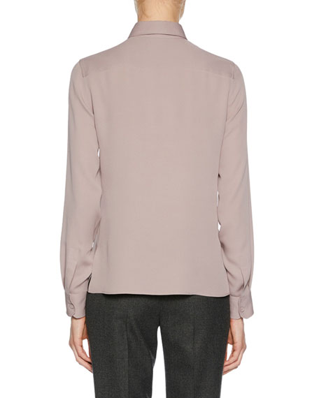 Long-Sleeve Button-Front Stretch-Silk Blouse