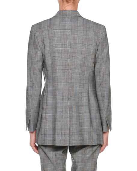 Peak-Lapel One-Button Glen-Plaid Jacket