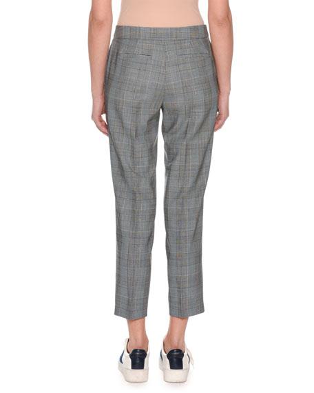 Glen-Plaid Straight-Leg Cropped Pants