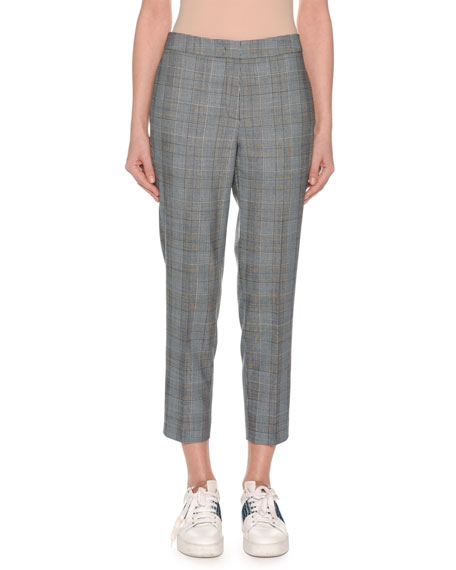 GLEN-PLAID STRAIGHT-LEG CROPPED PANTS