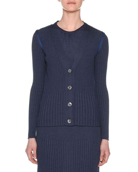 V-Neck Button-Front Ribbed Cardigan