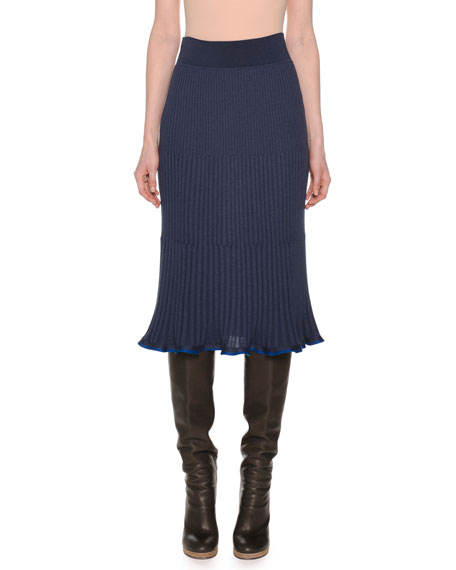 Ribbed A-Line Below-Knee Pull-On Wool-Blend Skirt