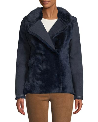 Snap-Front Shearling Short Pea Coat