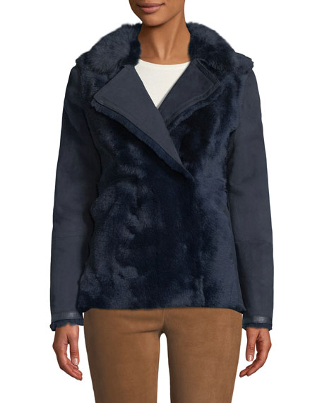 Snap-Front Shearling Short Pea Coat