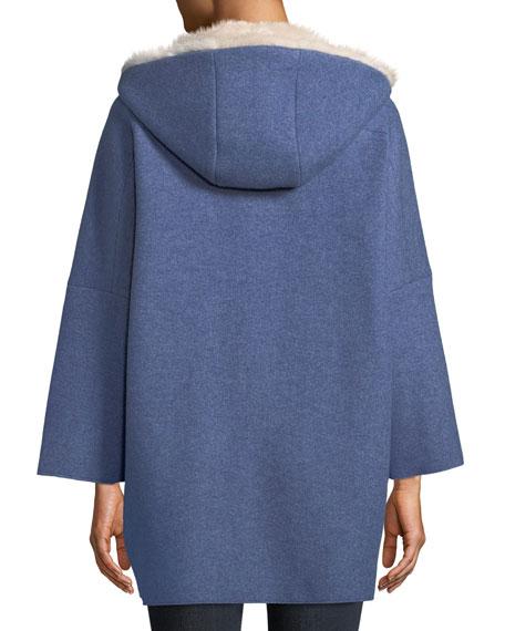 Mink Fur-Lined Hooded Cashmere Coat