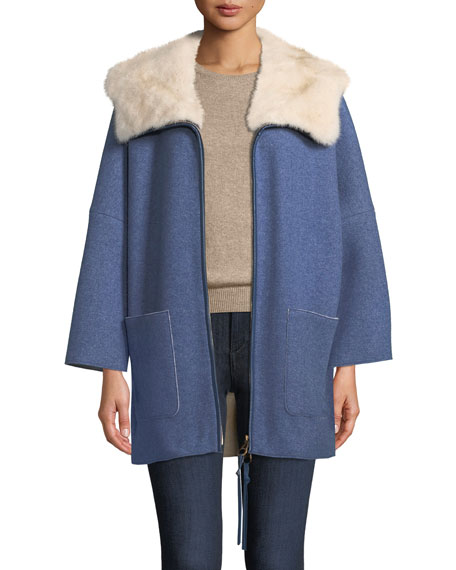 Agnona Mink Fur-Lined Hooded Cashmere Coat