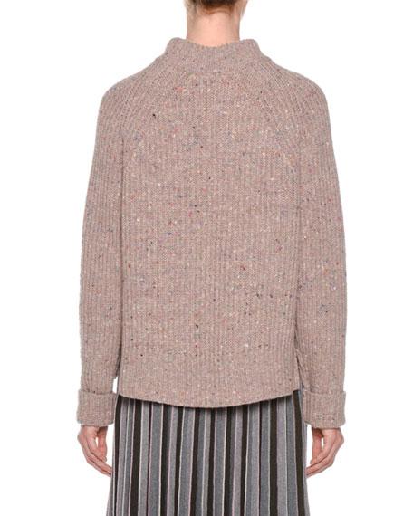 Mock-Neck Tweed Oversized Wool-Cashmere Sweater