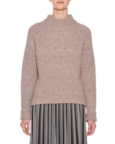 Mock-Neck Tweed Oversized Wool-Cashmere Sweater