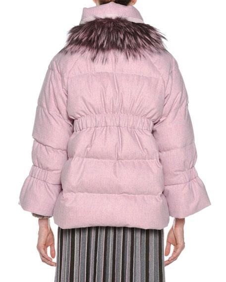 Zip-Front Flannel Wool-Cashmere Puffer Jacket w/ Fox-Fur Trim