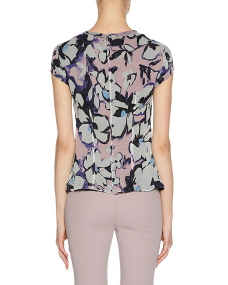High-Neck Cap-Sleeve Button-Back Floral-Print Silk Blouse
