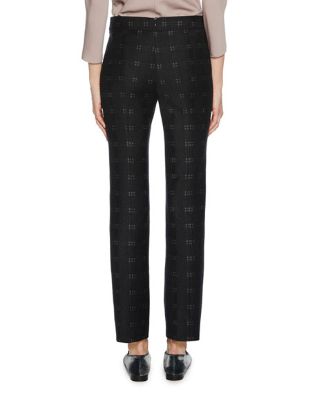 Straight-Leg Patterned Stretch-Wool Novelty Pants