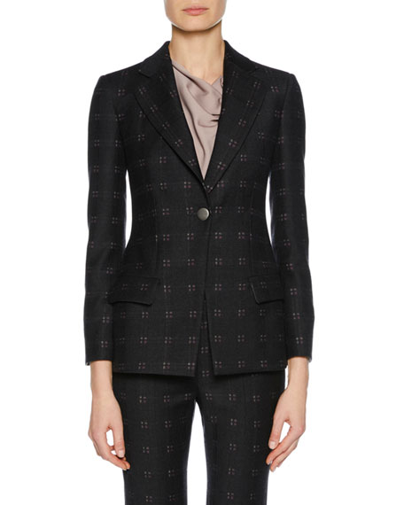 One-Button Patterned Stretch-Wool Novelty Jacket