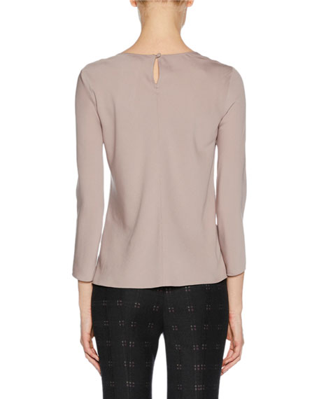 Draped-Neck Long-Sleeve Silk Blouse, Pink