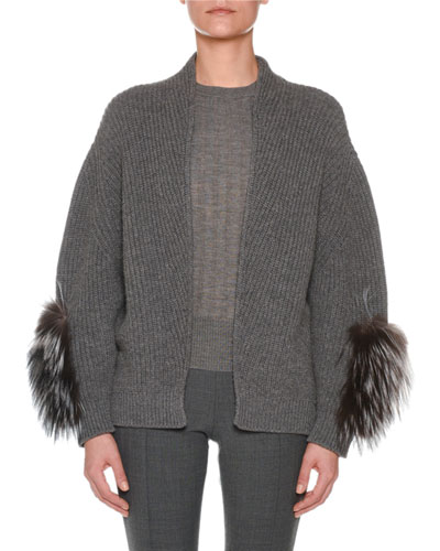 Open-Front Cashmere Ribbed Cardigan w/ Fox Fur Sleeve Patches
