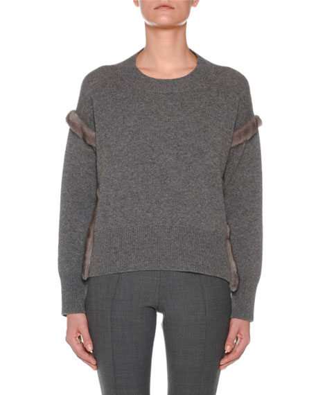 Agnona Cashmere Sweater with Mink Fur Ribbon Details,