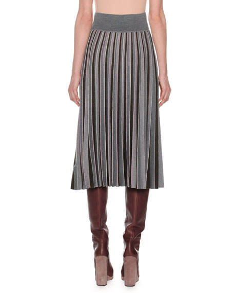 Pleated Multicolor Fine Merino Wool Pull-On Midi Skirt
