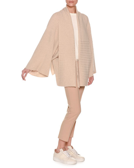 Mixed-Rib Tie-Front Cashmere Kimono Cardigan