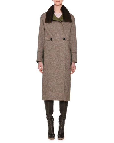 Double-Breasted Herringbone Cashmere Military Coat with Fur Collar