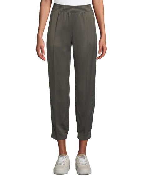 Tapered-Leg Track Satin Ankle Pants w/ Side Stripes