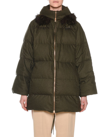 Agnona Zip-Front Wool-Blend Flannel Puffer Coat w/ Fox-Fur